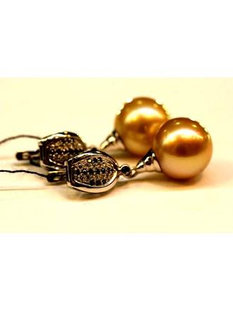 Серьги с жемчугом и бриллиантами ЗОЛОТО 585