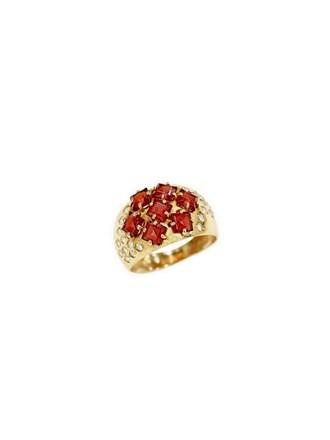 """Кольцо Золото 585"""" Гранаты Фианиты"""