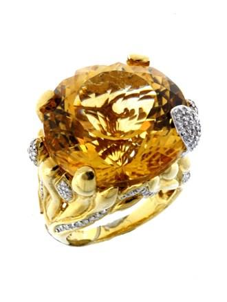 Кольцо Бриллианты Цитрин