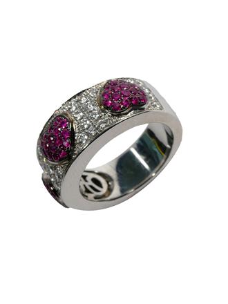 Кольцо с бриллиантами и искусственными рубинами