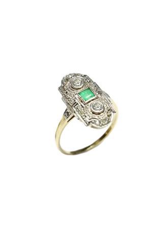 "Кольцо Золото 583"" Бриллианты Изумруд"
