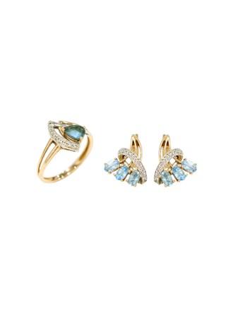 """Кольцо Серьги Золото 585"""" Бриллианты Топазы Голубые"""