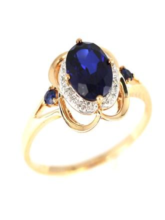 Кольцо бриллианты, синтетические сапфиры