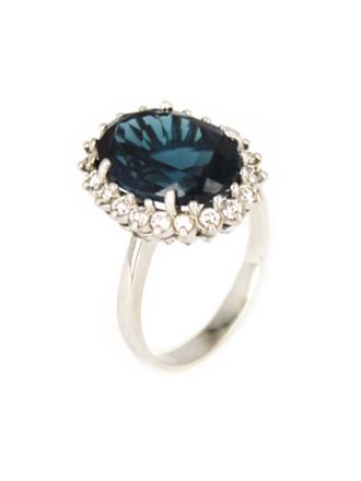 Кольцо с бриллиантами и синим алпанитом