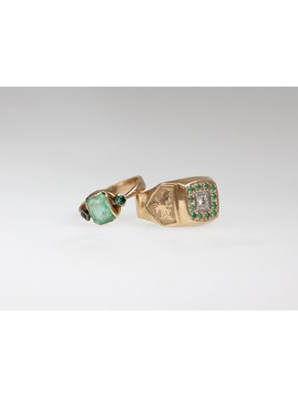 Кольца Золото 585 Бриллианты , изумруд