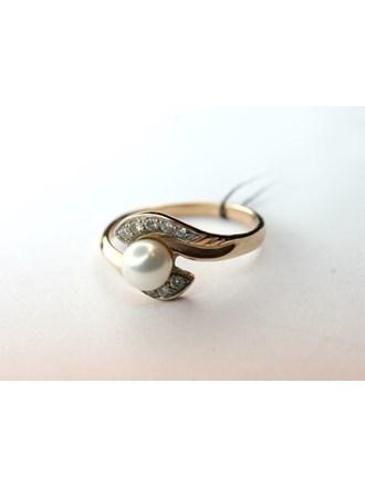 Кольцо с Бриллиантами и Жемчужиной Золото 585