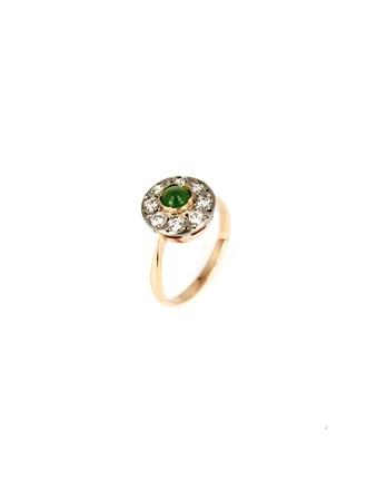 Кольцо с бриллиантами и хризопразом