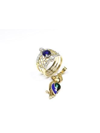 Кольцо Золото 585 Бриллианты Сапфир