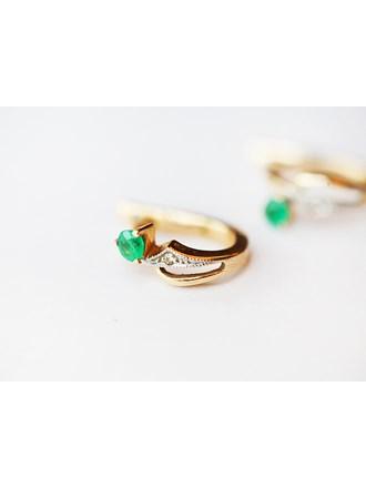 """Серьги пара Золото 585"""" изумруд 2 шт, бриллиант 2 шт"""