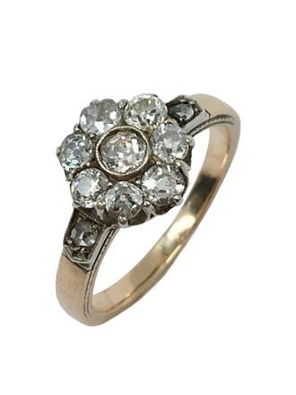 Кольцо с бриллиантами, золото 56°