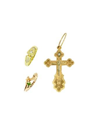 """Кольца Крест Золото 585"""" Бриллианты Фианит"""