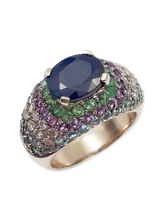 Кольцо с бриллиантами и самоцветами