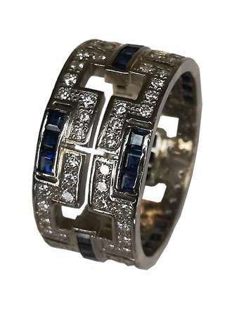 Кольцо сапфиры,бриллианты золото
