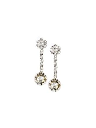 """Серьги Золото 585"""" Алмазные розы"""
