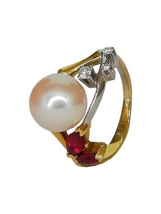 Кольцо бриллианты, рубин, жемчуг золото