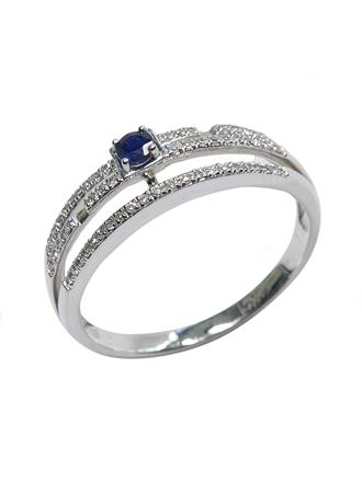 Кольцо с бриллиантами и гидротермальным сапфиром