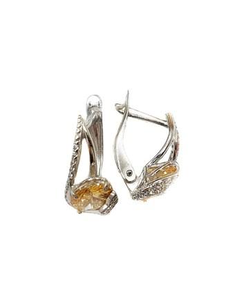 Серебряные серьги с фианитами и кристаллами Сваровски