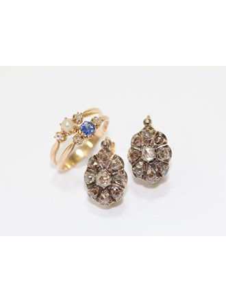 """Кольцо Серьги Золото 583"""" Сапфир Алмазные розы"""