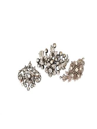 Броши 3 штуки Золото Серебро Бриллианты Алмазные Розы