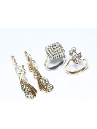 """Два Кольца и Серьги Золото 585"""" Бриллианты"""