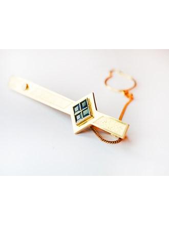 Зажим для галстука с бриллиантом золото 585