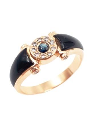 Кольцо мужское бриллианты, сапфир, эмаль