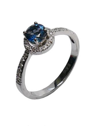 Кольцо с бриллиантами и лондон топазом