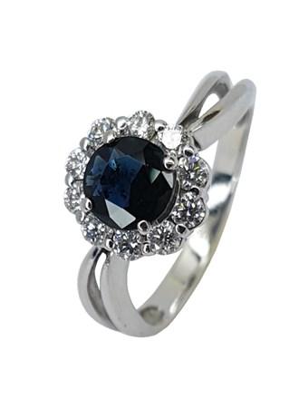 Кольцо с бриллиантом/сапфир