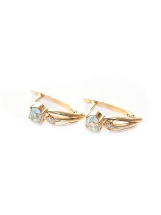 """Серьги Золото 585"""" Бриллианты Голубой Топаз"""