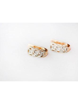 "Серьги пара Золото 585"" камни синтетические 6 шт"