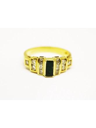 Кольцо Золото 750 Бриллианты Изумруд