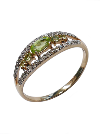 Кольцо с бриллиантами и хризолитами