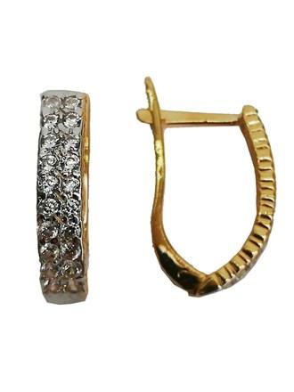 Серьги с синтетическим камнем золото