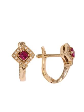 Серьги с бриллиантами и рубинами