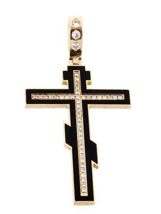Крест Бриллианты Эмаль Фианиты