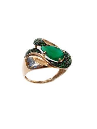 Золотое Кольцо камень- фианиты и зеленый агат