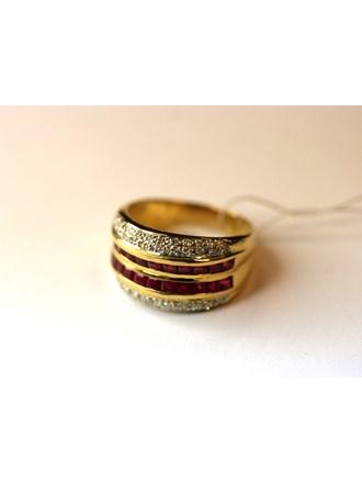 """Кольцо с бриллиантами и рубинами Золото 750"""""""