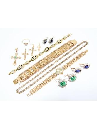 """Набор ювелирных изделий Золото 585"""" Бриллианты Сапфиры Фианиты"""
